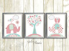 Great T rkis Rosa Kinder Wand Kunst Baby Kinderzimmer von GalerieAnais