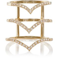 Bianca Pratt Women's Triple Stack Cage Ring ($2,010) ❤ liked on Polyvore featuring jewelry, rings, gold, band jewelry, triple band ring, stackable rings, bianca pratt and polish jewelry