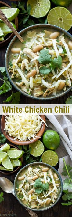 White Chicken Chili   Hearty, healthy, gluten-free and full of Mexican flavor! This White Chicken Chili is a dinner everyone will love!