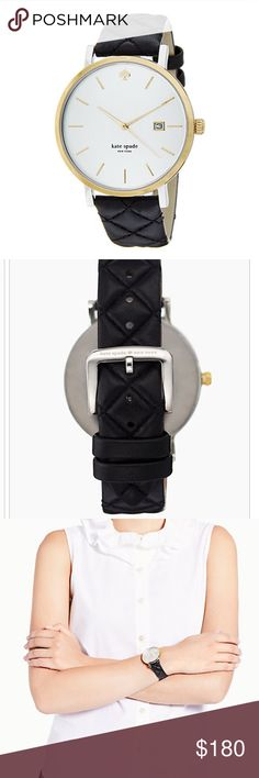 Kate spade New York women's metro grand watch Authentic. Comes with box and original packaging. Black quilted straps. Gold. Reasonable offers welcome. kate spade Accessories Watches