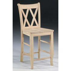 International Concepts Double X-back 24-inch Unfinished Wood Bar Stool