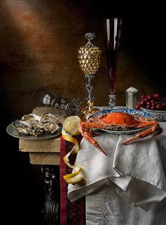 Still Life with crab, pineapple cup and lemon ~ photographer Kevin Best, imho one of the world's most talented photographers. Specializes in recreating Dutch vanitas style after Dutch Golden Age masters. #art #photography #still_life