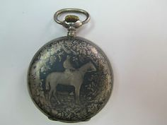 pocket watches with horses | ... Swiss Circa 1880s NIELLO (Horse) Silver FULL HUNTER Mens Pocket Watch