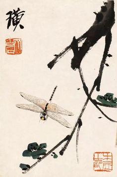 Chinese Traditional Brush Painting Master Qi Bai Shi -  Insect & Kapok
