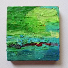 Minimalist landscape, texture oil painting, abstract art, green, turquoise, red, square small painting, spanish art, original oil painting de MariaMazaPaintings en Etsy