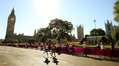 Athletes past Big Benduring the T12 and T46 men's marathon on Day 11 of the London 2012 Paralympic Games.