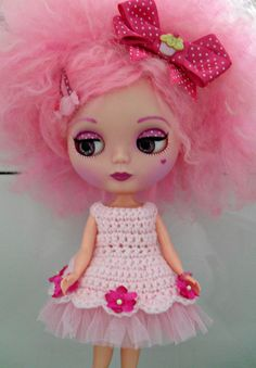 Blythe Doll Crochet Dress 0004 by MyHeartForCrochet on Etsy, £15.00