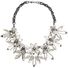 John Lewis Translucent Flower Statement Necklace, Gunmetal/Clear (€36) ❤ liked on Polyvore featuring jewelry, necklaces, chain link necklace, chunky necklaces, silver tone necklace, clear statement necklace and clear crystal necklace