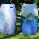 Rain Barrel Basics:Prep, Placement, Pests  Mosquitos release their larvae in standing water, so rain barrels are mosquito magnets.  Some gardeners add a goldfish or a few guppies to each barrel. The fish will eat mosquito larvae as soon as they hit the water. But don't combine fish with either of the other methods in this article. Lots of good information here.......