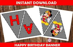 Mickey and the Roadster Racers happy birthday banner download