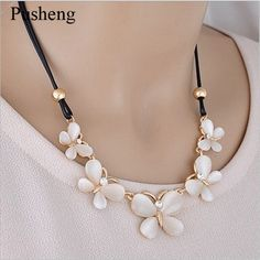 Pusheng Fashion Style Crystal Choker Necklace Cute Cat Eye Flower Butterfly PU Rope  Necklace Women Long Sweater Chain Necklaces