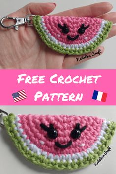 Free crochet pattern: Keychain Watermelon. Perfect last minute gift! Pin it for later!