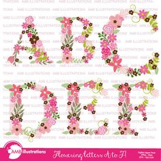 80%OFF Floral Alphabet clipart, Alphabet clipart, Floral clipart, clipart, commercial use, digital clip art, AMB-1104A