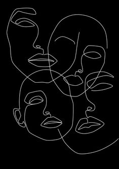 Create In The Dark Mini Art Print by Explicit Design - Without Stand - 3 Abstract Line Art, Abstract Faces, Art Sketches, Art Drawings, Minimal Art, Black And White Aesthetic, Aesthetic Art, Aesthetic Outfit, Face Art