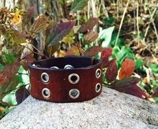 Brown Leather Cuff with Rivets