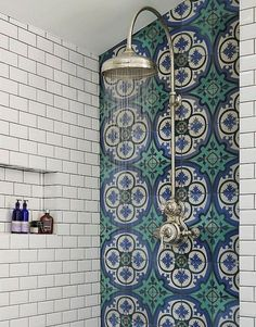 Mediterranean-inspired bathroom in a Victorian terrace house, South-West London. Walk-in shower with Drummonds Dalby Shower with curved arm. Mediterranean floor tiles in sea blues and greens from Rustico Tile & Stone. Bad Inspiration, Bathroom Inspiration, Furniture Inspiration, Furniture Ideas, Douche Design, Victorian Terrace House, Victorian Tiles, Victorian Bathroom, Victorian Interiors
