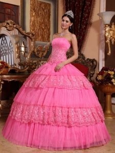 Rose Pink Ball Gown Strapless Floor-length Organza Lace Appliques Quinceanera Dress