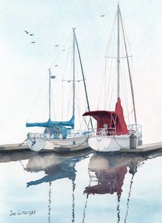 Watercolor paintings boats and the sea gallery by Joe Cartwright, Australian artists. Seascapes, beaches, and lakes. Fishing boats, gondolas and sailing boats.