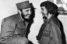 A famous friendship with Ernesto Che Guevara caught on film.  This moment is from 1959, just before Castro's triumphant entry into Cuba.