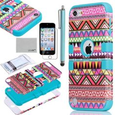 Black Friday Pandamimi ULAK (TM) Hybrid Pink Hard Aztec Tribal Pattern Blue Silicon Case Cover For Apple iPod Touch (Generation 5) Screen Protector Stylus from ULAK