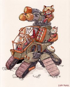 Animal Mechs Illustrations by Evan Palmer Design Reference, Art Reference, Character Concept, Character Art, Arte Nerd, Robot Cartoon, Robot Concept Art, Ex Machina, Creature Design