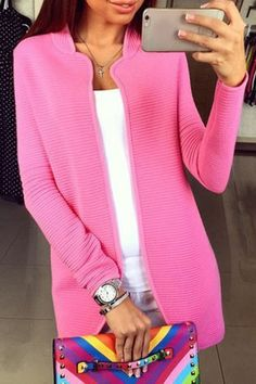 Pure Color Stand Neck Long Sleeve Cardigan