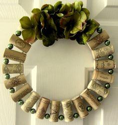 Wine Cork Wreath. Love the use of beads