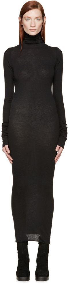 Rick Owens Lilies Black Wool Jersey Turtleneck Dress