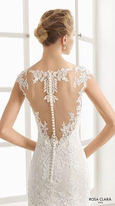 rosa clara two spring 2016 cap sleeves illusion boat sweetheart neckline embellished bodice elegant trumpet lace wedding dress lace back sweep train (eysa) zbv