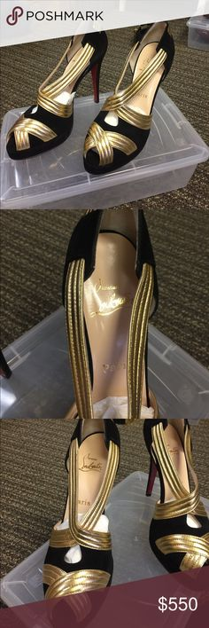 Christian Louboutin Black & Gold Heels Worn once. Size 10. 100% authentic Christian Louboutin Shoes Heels