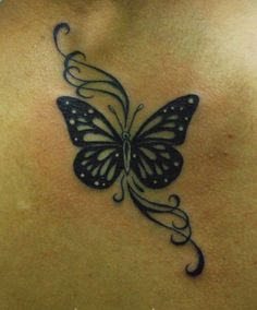 Black Beautiful Butterfly Tattoo with Swirls                                                                                                                                                      More