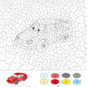 Cartoon Car Color by Number Målarbok