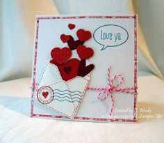 handmade Valentine card ... Love ya by Weekend Warrior ... open envelope with hearts floating out ... great use of envelope punch board to make small dimensional envelope .. cute stamped details ... Stampin' Up!