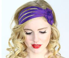 Check out this item in my Etsy shop https://www.etsy.com/listing/162421601/purple-fascinator-headband-purple-flower