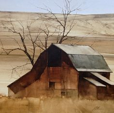 """For artist Joseph Alleman, an important motive to paint lies in understanding his surroundings. ""I'm visually compe. Watercolor Barns, Watercolor Artists, Watercolor Landscape, Landscape Paintings, Watercolor Paintings, Barn Paintings, Watercolors, Landscape Photos, Country Barns"