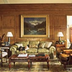 Charlotte Moss Ski House Decor - Ski Retreat Interior Design - ELLE DECOR - Charlotte's Oscar and Daisy at their winter home in Aspen. Home Furniture, Furniture Design, Sofa Design, Aspen House, Enchanted Home, Winter House, Elle Decor, Beautiful Interiors, Living Room Designs