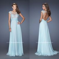 New Arrival Appliques Illusion Special Blue Prom Floor-Length Dresses Elegant Luxury Dress Girl Sale Women Clothing Fashion