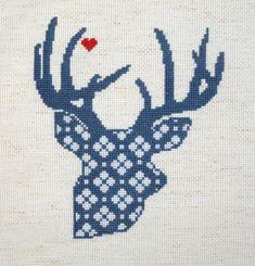 Deer Valentine Cross Stitch Pattern by HanksPatternPlace on Etsy