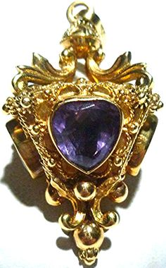 """ESTATE 1960s WOMENS ETRUSCAN 18K YELLOW GOLD AMETHYST & GARNET CHARM FOB 1 5/8"""" in Jewelry & Watches, Vintage & Antique Jewelry, Fine   eBay"""