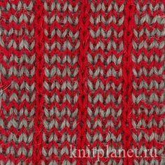 Двухцветный двусторонний узор - Двухцветный двухсторонний узор спицами. Отличный узор для вязания шарфов и шапок. Схема узора.