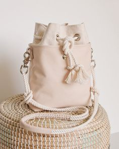 Bucket Bag Blush Nude Leather Mini Hobo, new design!