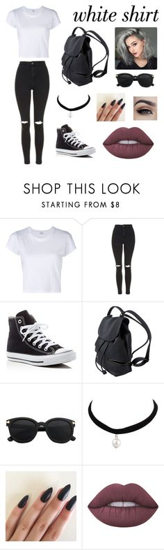 """""""White shirt contest"""" by brinleyguillena ❤ liked on Polyvore featuring RE/DONE, Topshop, Converse, Lime Crime and WardrobeStaples"""