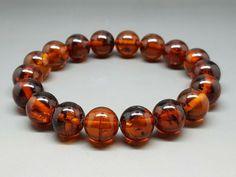 16,5 gr Genuine Natural Baltic Amber Bracelet Dark Cognac #Handmade #Beaded
