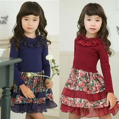 Retail!2014 new arrival!Girls 2014 fashion spring autumn solid color top flower pattern long sleeve cotton party dresses CH-273 $17.00 / Piece