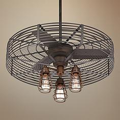 32 Quot Vintage Breeze Bronze Black Cage Ceiling Fan