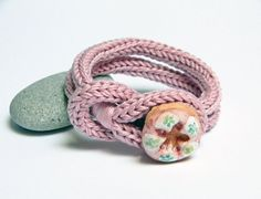 Pink knitted cotton yarn bracelet  Noemi ceramic by ylleanna, €18.00
