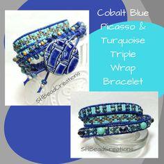 Cobalt Blue and Turquoise (color) Bracelet, Caramel Accents, Triple Wrap Bracelet, Leather Bracelet, Ceramic Button, Beaded Bracelet, by SHBeadCreations on Etsy