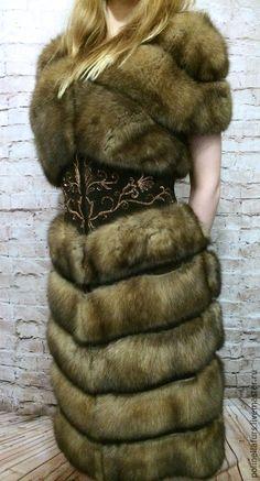 Верхняя одежда ручной работы. Жилет из соболя с вышивкой на поясе. Polinella Furs Exclusive. Ярмарка Мастеров. Жилет из соболя