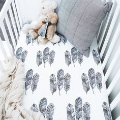 Our Feather Print fitted cot sheet is now available. Fits standard cot and these are a poly/cotton blend.