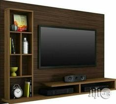 Living room tv wall modern design media consoles 32 ideas for 2019 Tv Unit Interior Design, Tv Wall Design, House Design, Tv Cabinet Design Modern, Modern Design, Tv Unit Decor, Tv Wall Decor, Tv Shelving, Shelves